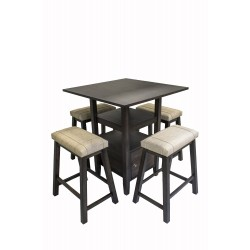 Blake Dining Set w/ Saddle Stools